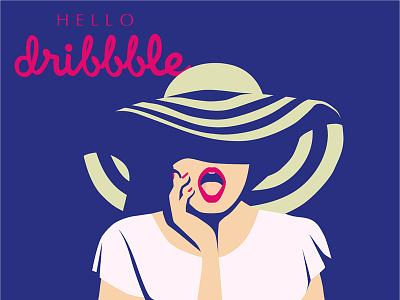 Hello Dribbble! hello dribbble vector flat face beauty colors adobe illustrator illustration fashionillustration