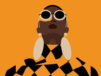 African woman vector flat face yellow african women beauty colors adobe illustrator illustration fashionillustration