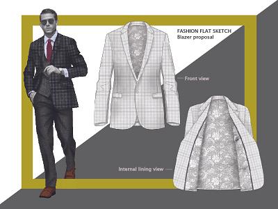 Fashion Flat Sketch blazer suit men lining cloth fashion flat sketche fashion fabric