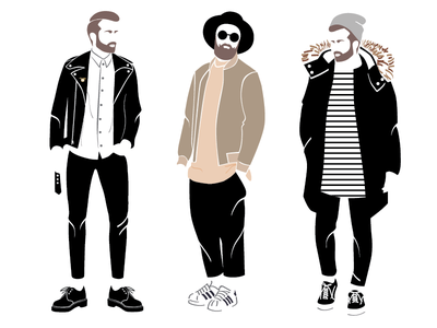 Men's Outfits beard hipsters fashion illustration vector mens outfits sunglasses vans adidas dr martens jeans jacket