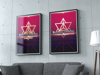 futuristic + 80's style Music band Poster