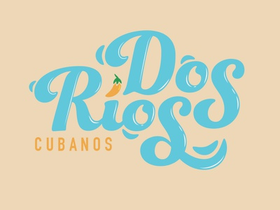 Dos Rios food cubano miami restaurant logo cuba cuban orange blue spanish