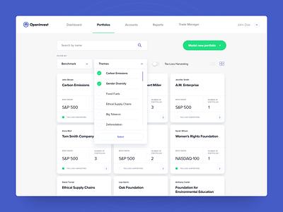 OpenInvest - Institutional Dashboard - Portfolios portfolio dashboard design investing design product design ux ui