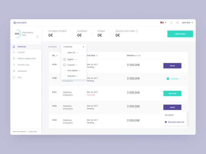 Moment - Dashboard Redesign financial app finance invoices dashboard design product design design ui ux