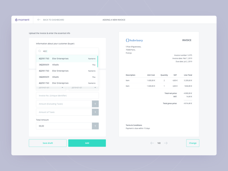 Moment - Adding a new invoice flow invoices financial app finance dashboard design product design design ux ui