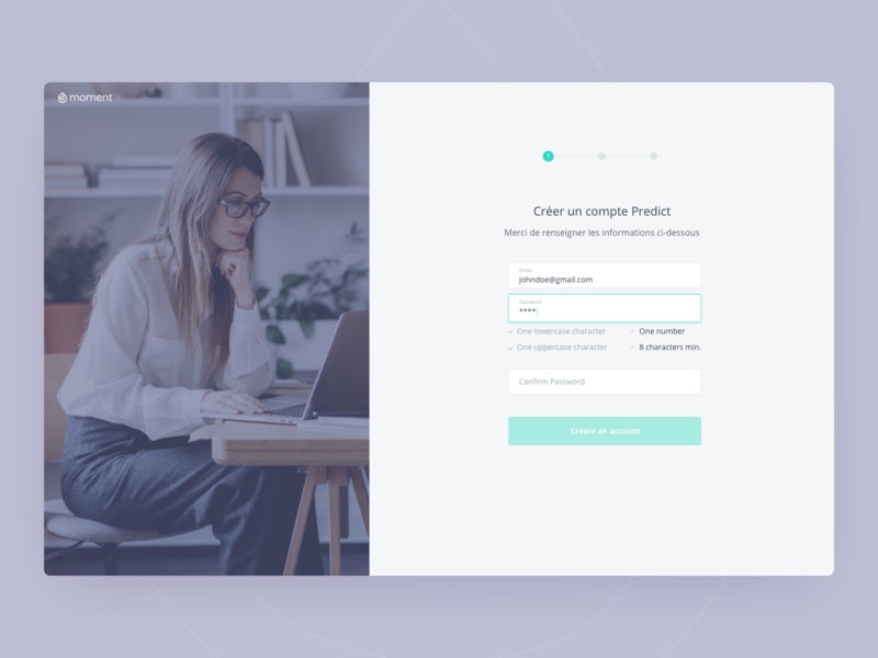 Moment - Sign up and profile completion finance financial app invoices dashboard design product design design ux ui
