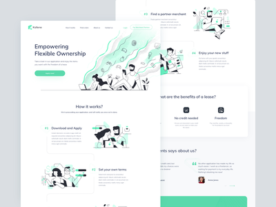Kafene Landing page loan landing page illustration finance design ui