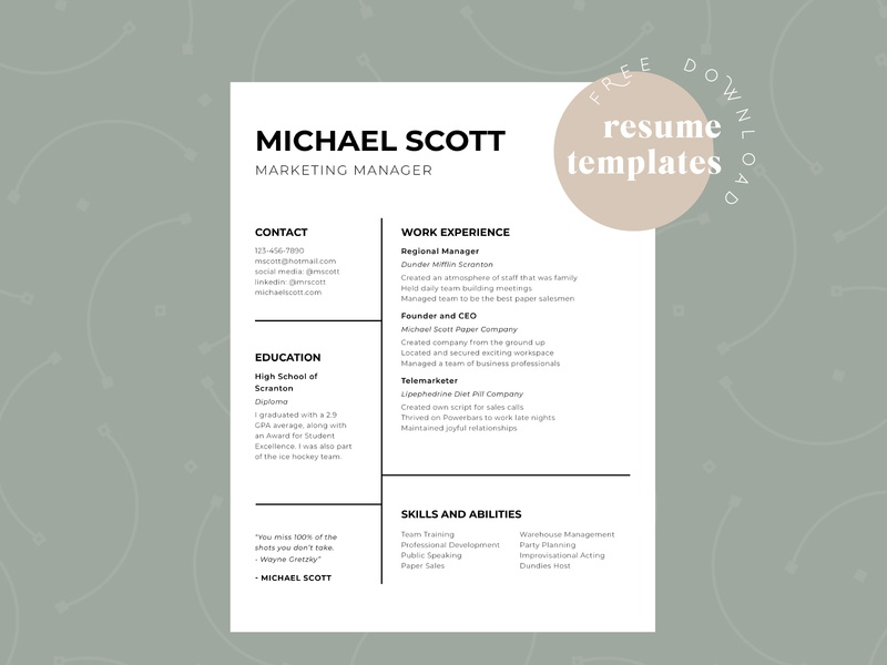 Michael Scott Resume resume adobe indesign the office