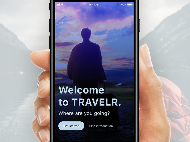 Travel app landing screen landing page introduction travelr app interface ux ui flight travel