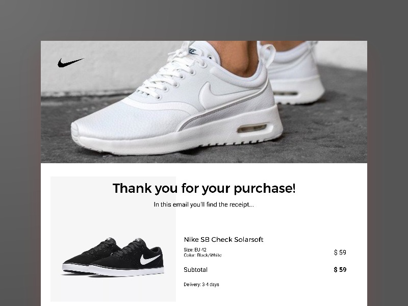 Daily UI 017 - Email Receipt nike purchase receipt email 017 challenge daily ui daily dailyui design interface ui