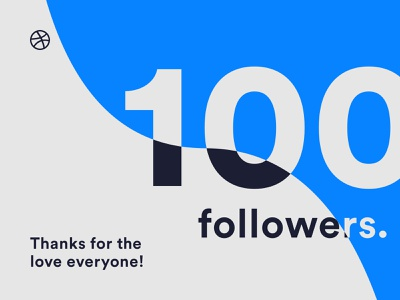 100 followers! 🎉 dribbble followers typography branding illustration coloful art card 100 vector design