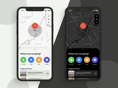 Daily UI 029 - Map 029 sketch dark ios mobile navigation map maps card clean app ui design ux daily ui dailyui daily challenge design interface ui