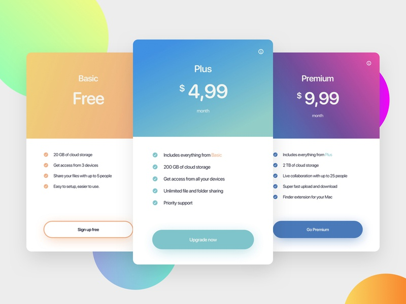 Daily UI 030 - Pricing plans price pricing 030 minimal website branding web card gradient clean ui design ux daily ui dailyui daily challenge design interface ui