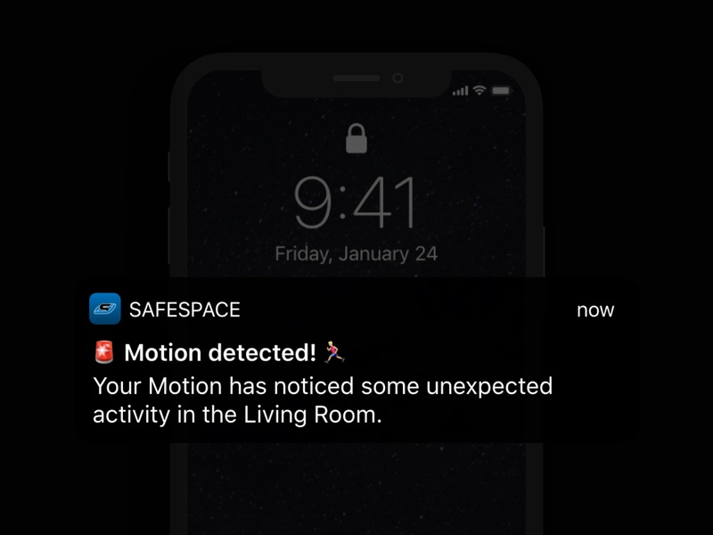 SafeSpace Notifications dark ui dark mode dark space safespace notifications notification apple ios branding logo card dribbble app ui design clean interface design ui