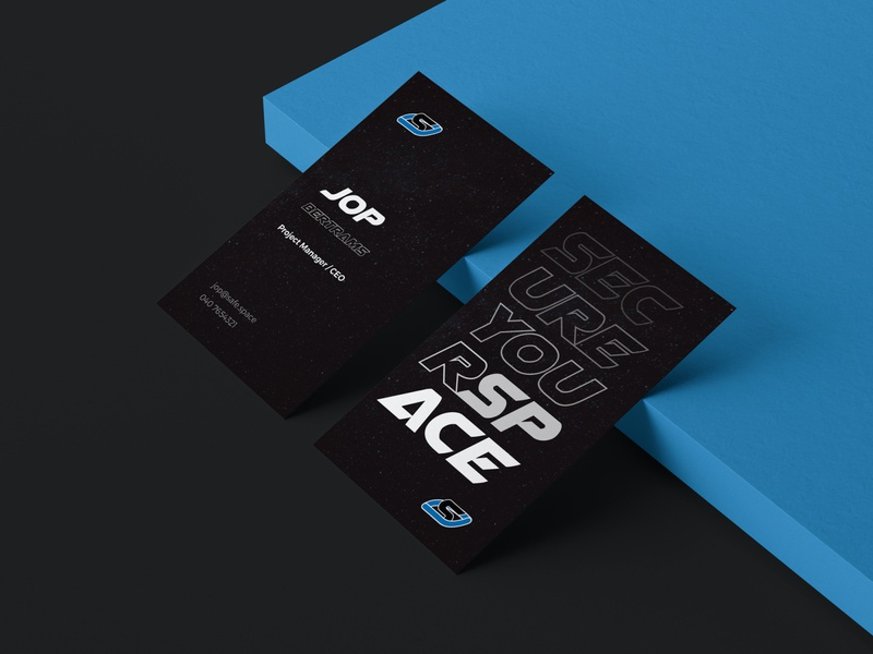 SafeSpace business card card design cards black blue dribbble type brand card business businesscard dark space safespace typography vector branding logo design