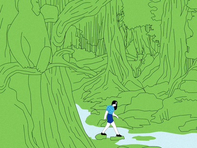 Walk in the Woods green environment woods art cel vector illustrator illustration