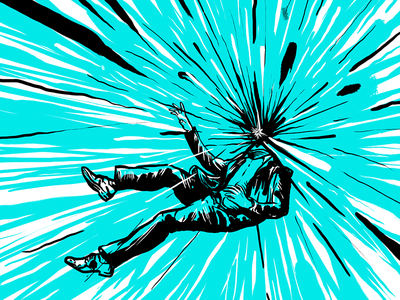 BANG! boom line design color vector graphic raster bang art explosion turquoise photoshop falling explode illustration suit headless