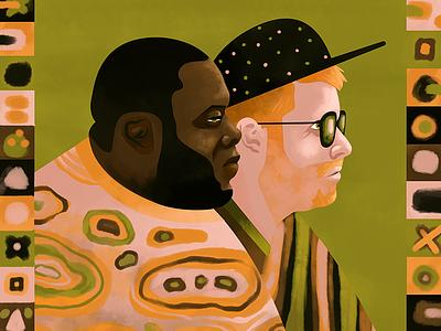 Run The Jewels orange pink green hat illustration photoshop acrylic run the jewels hip hop profile portrait