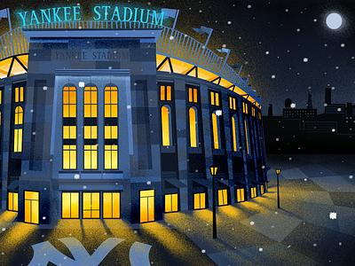 Yankee Stadium light illustration illustrator photoshop baseball stadium night snow architecture grain yankees bronx new york