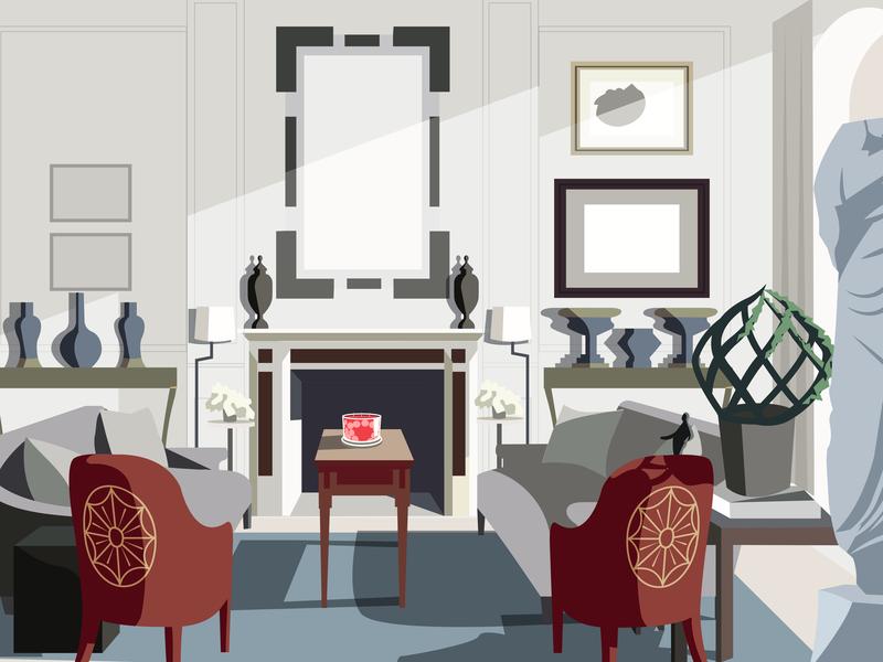 Living Room 1 flat vector decor interior illustrator illustration style furniture light living room