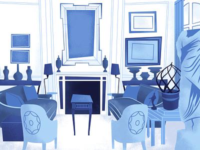 Living Room 2 environment blue jazzy furniture decor grain photoshop illustrator illustration interior