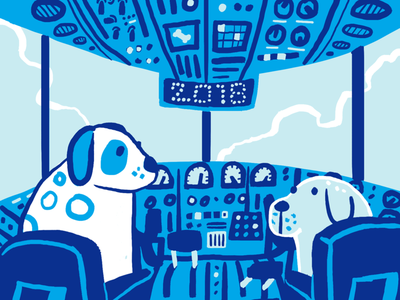 All Nippon Airways: Year of the Dog art 2018 cockpit controls blue photoshop illustration dog plane dogs chinese new year