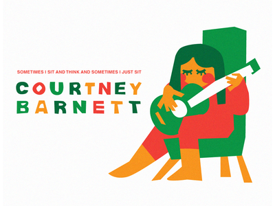 Courtney Barnett: Sometimes I Sit And Think art band music chair guitar cut paper color illustration illustrator vector album courtney barnett