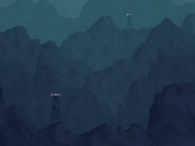 Mountains blue art monochromatic layers texture illustration raster photoshop mountains landscape pastel