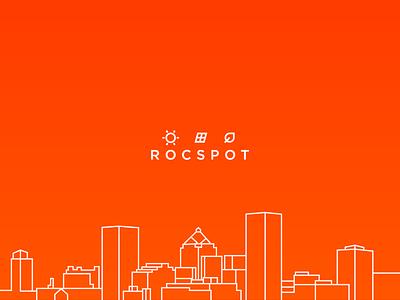 ROCSPOT vector illustrator city cityscape line red gotham icon identity illustration rochester solar panel solar