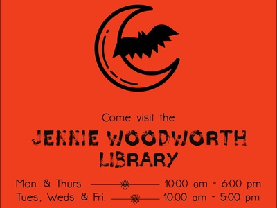 Jennie Woodworth Library Halloween Flier