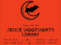 Jennie Woodworth Library Halloween Flier