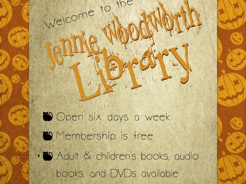 Jennie Woodworth Library Halloween Flier 02 halloween flier halloween design halloween typography library graphic design print design design graphic design indesign adobe indesign
