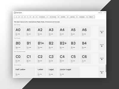 Paper Sizes (shoutout) sizing paper black and white bw webdesign ui web page shoutout