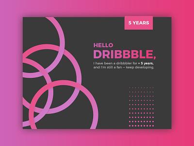 5 Years on Dribbble montserrat dotwork dots circles purple pink anniversary rebound dribbble