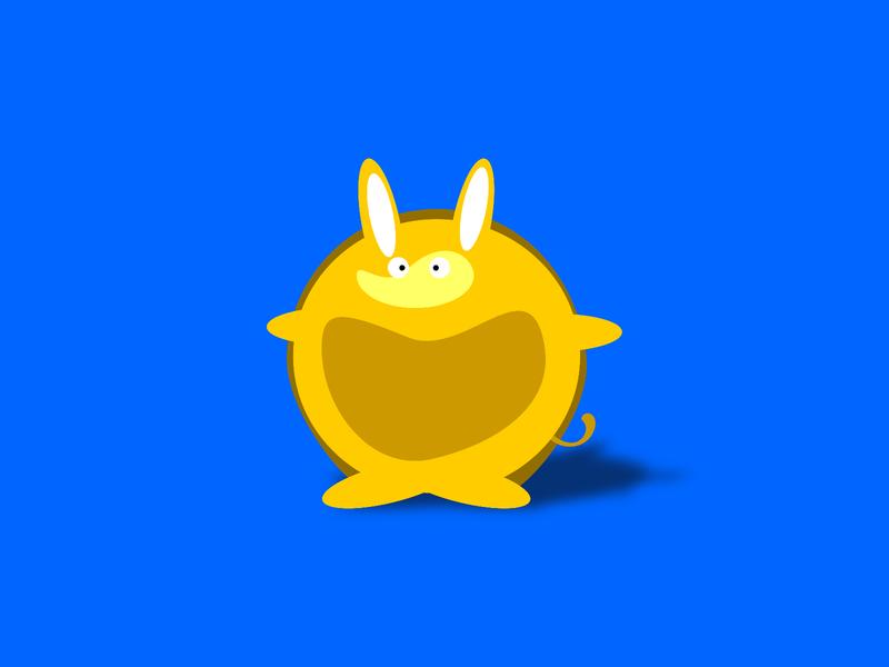 ArmaDilly blue yellow armadillo cartoon character animal logo bold colours basic shapes fun character design design illustration