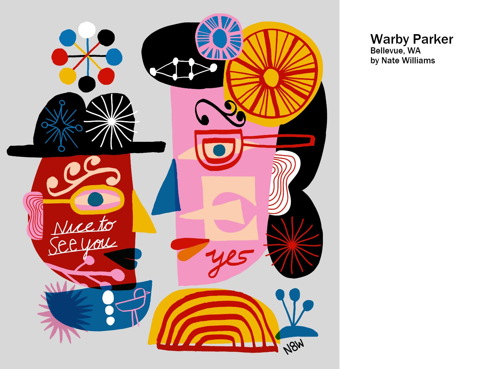 Warby Parker - Bellevue, Washington USA process interior mural design illustration nate williams