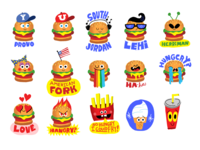 Hamburger Puffy Stickers