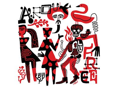 Arouj handdrawn art nate williams folk illustration