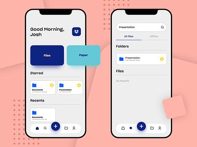 Dropbox App Redesign blue dropbox appdesign ios interface flat-design flat app ux ui design minimal