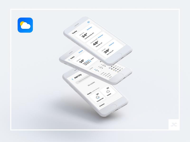 Weather Redesign for IOS design flat-design flat app redesign graphic design minimal design minimal app minimal redesign weather app weather ios iphone ux ui interface design interface appdesign app apple