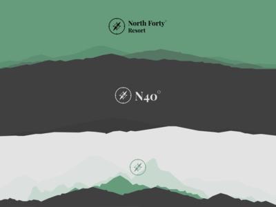 Logo Exploration | North Forty Resort resort montana outdoors mountains compass serif green typography branding illustration flat-design flat design minimal logo