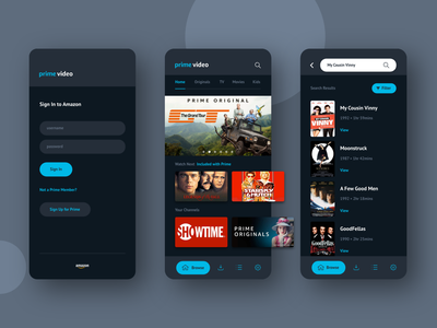 Amazon Prime Video | App Redesign sign up search log in form interface design graphic design app redesign appdesign ios ux ui flat-design flat design minimal streaming app streaming amazon app  design app