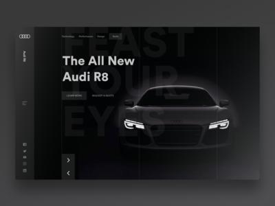Audi R8 Landing Page landing page minimal ux design ui design interface design interface uiux ux ui webdesign website graphicdesign design