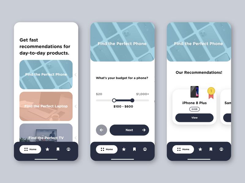 App Concept | Recommend.it shopping shop quiz app quiz results recommendations app design ios interface design interface app ux ui flat-design flat design minimal