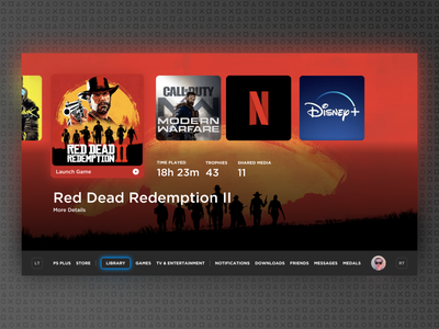 Playstation 5 UI | Concept red ux categories organization minimal console gaming sony playstation concept ui ps5