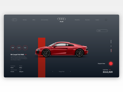 Audi R8 Vehicle Selection Concept ux website user interface ui dark car r8 audi