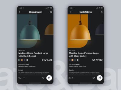 Crate & Barrel - Dark Mobile App Concept