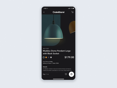 Crate & Barrel - Dark Mobile App Concept Animated
