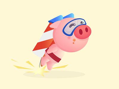 Piggy2 pig animal cute character illustration