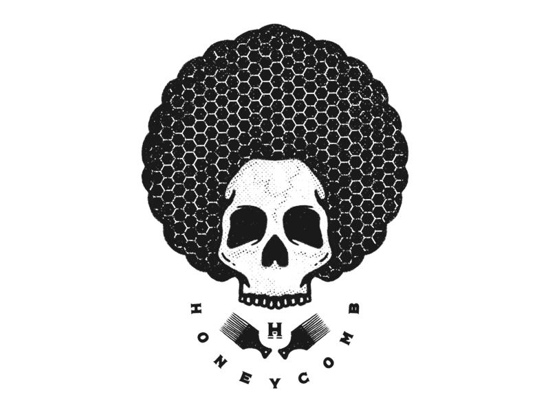 HoneyComb artwork handdrawn illustrator procreate logo merchdesign illustration charleypangus afro honeycomb skull
